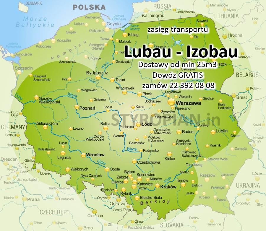 zasięg Izobau Lubau Styropian grafitowy EPS033 Warszawa